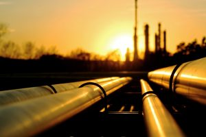 Steel Piping Leading to Oil Refinery